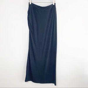 Athleta Black Maxi Skirt with Slit Side S